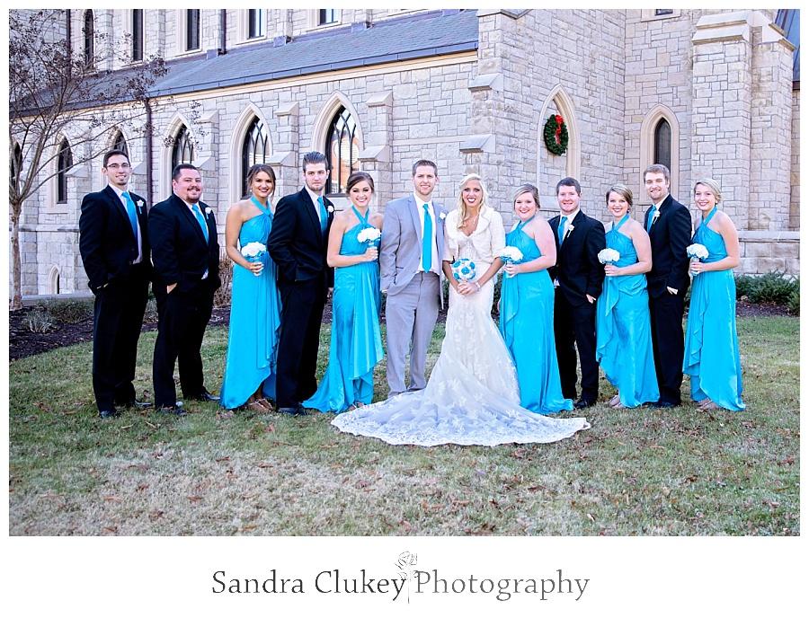 Wedding party outside chapel