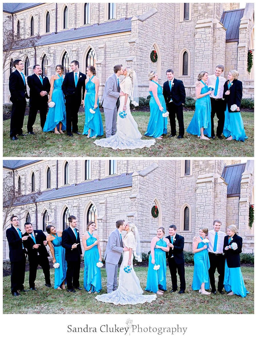 Wedding Party formal outside of Chapel