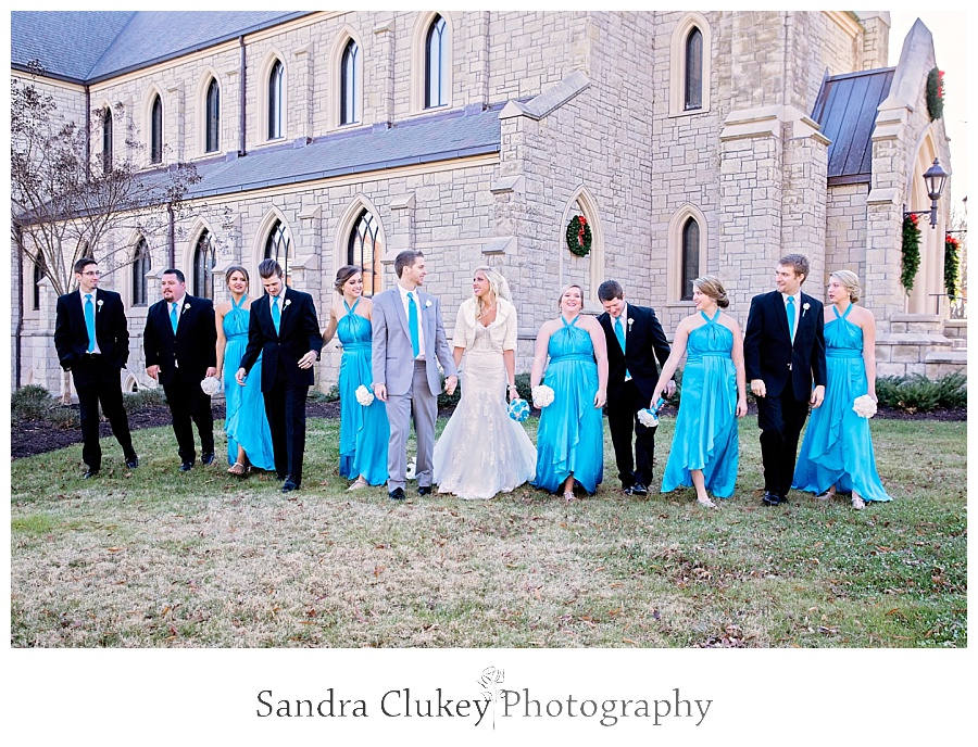 Fun with wedding party outside of Chapel