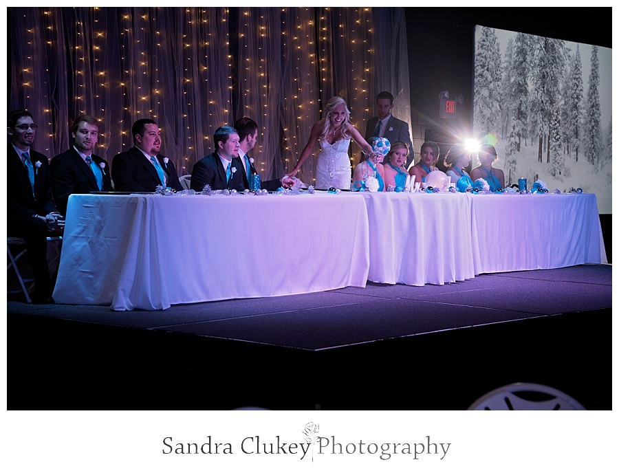 Wedding party table at reception