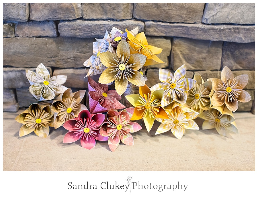 Original Pink and yellow Origami wedding bouquets