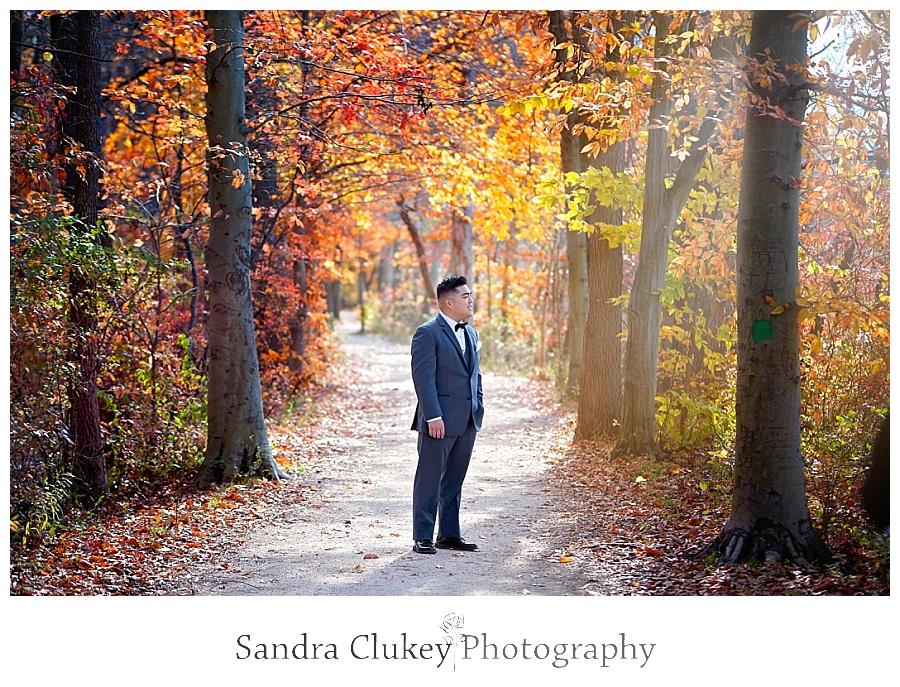 Reflective groom on tree lined path