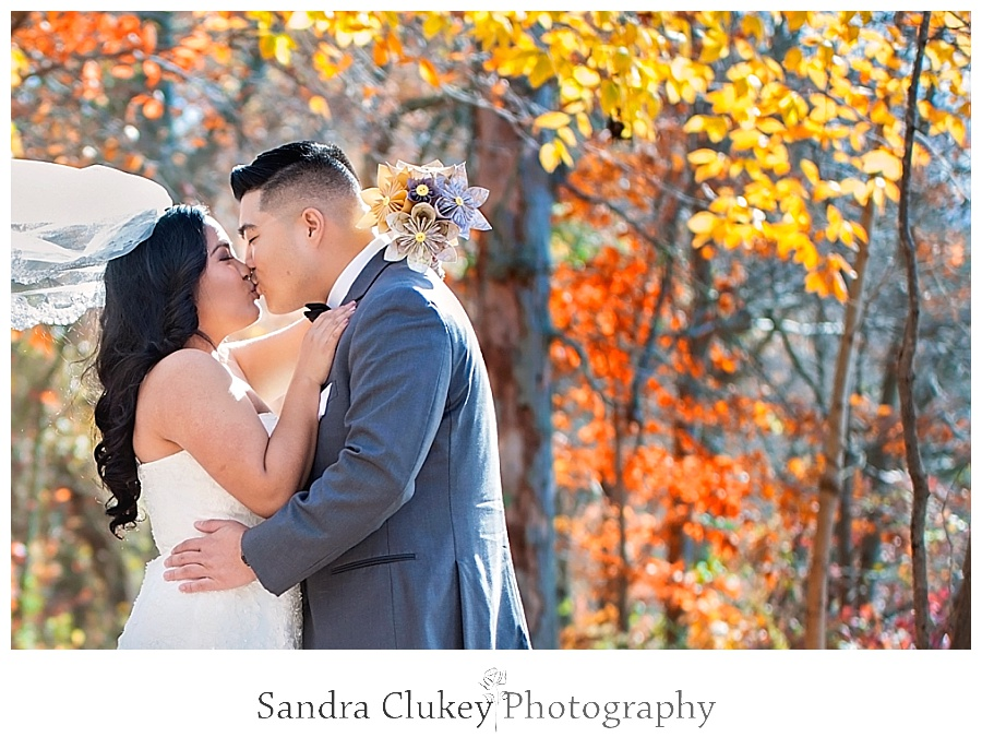 Passionate couple during first look