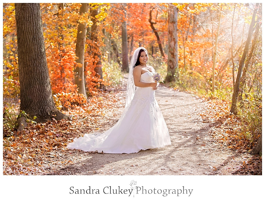 Elegant bride on fall colored tree lined path