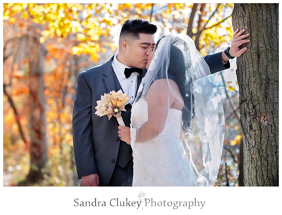 Tender moment of couple at first look