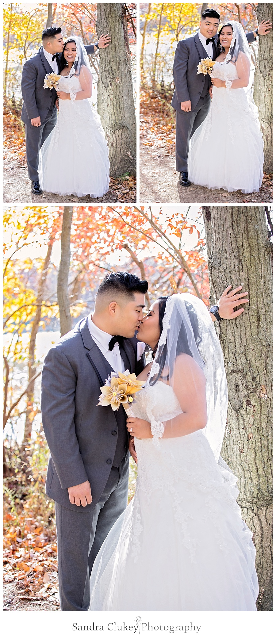 Playful moment of couple at first look
