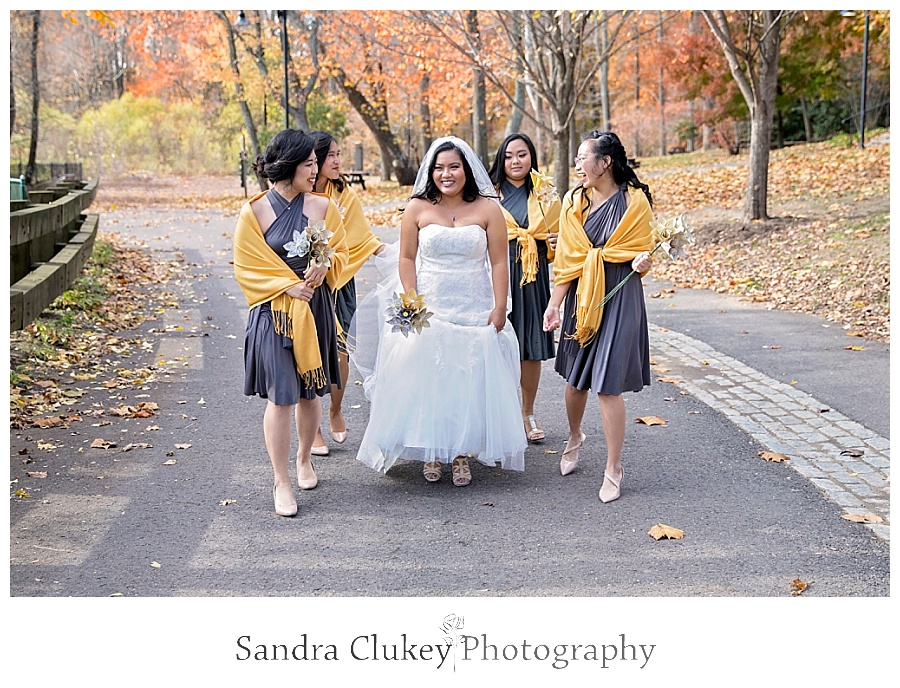 Whimsical bride with bridesmaids