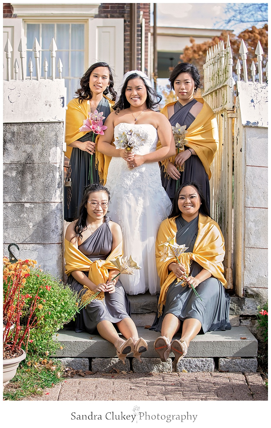 Elegant bride with her girls