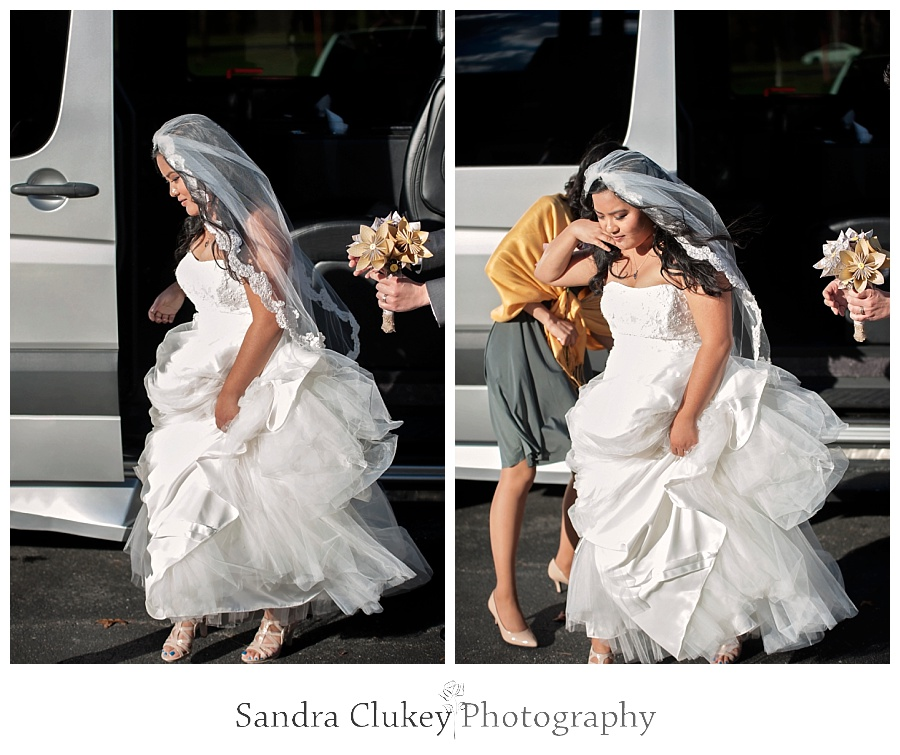Beautiful bride arrives