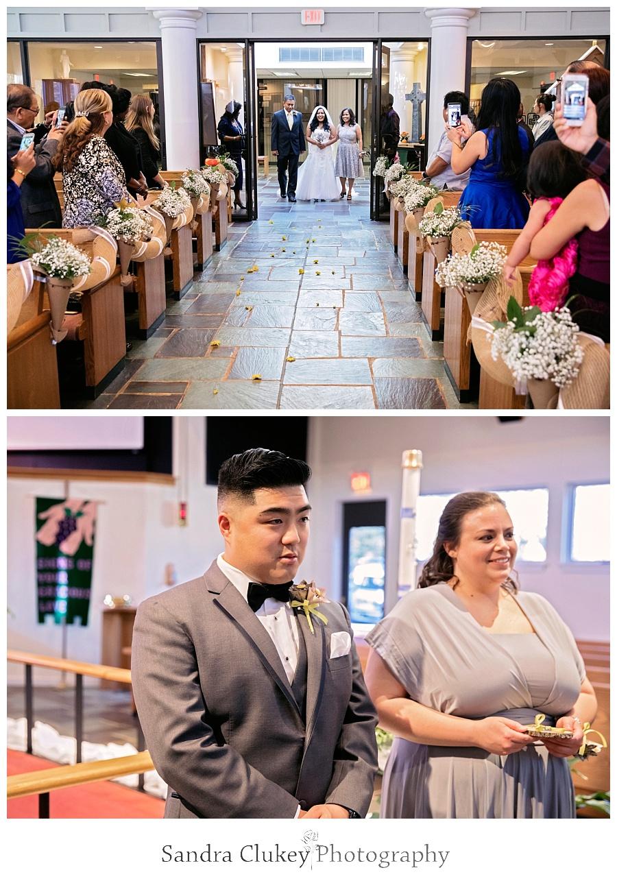 Emotional groom anticipates arrival of his bride