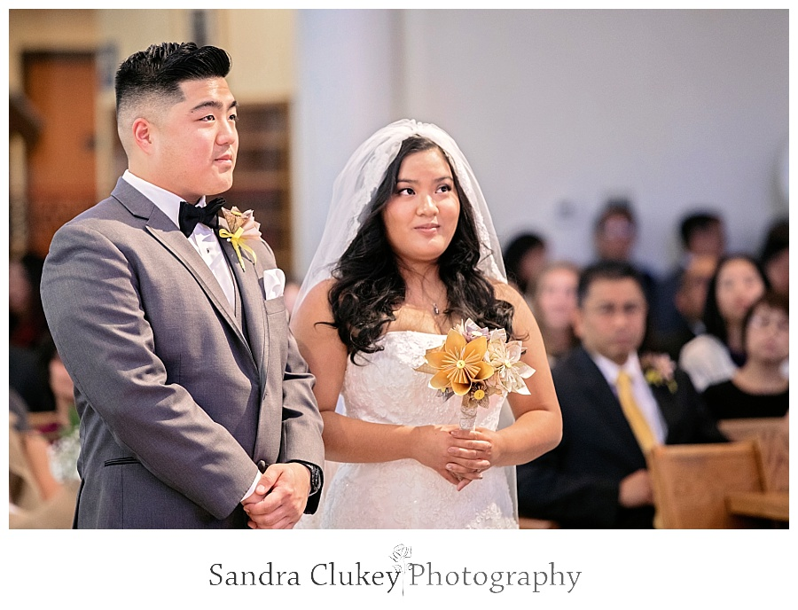 Focused attention from the bride and groom
