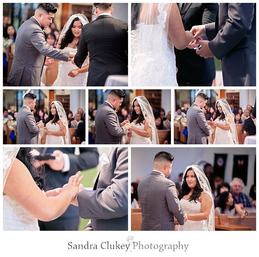 Gorgeous wedding bands are exchanged