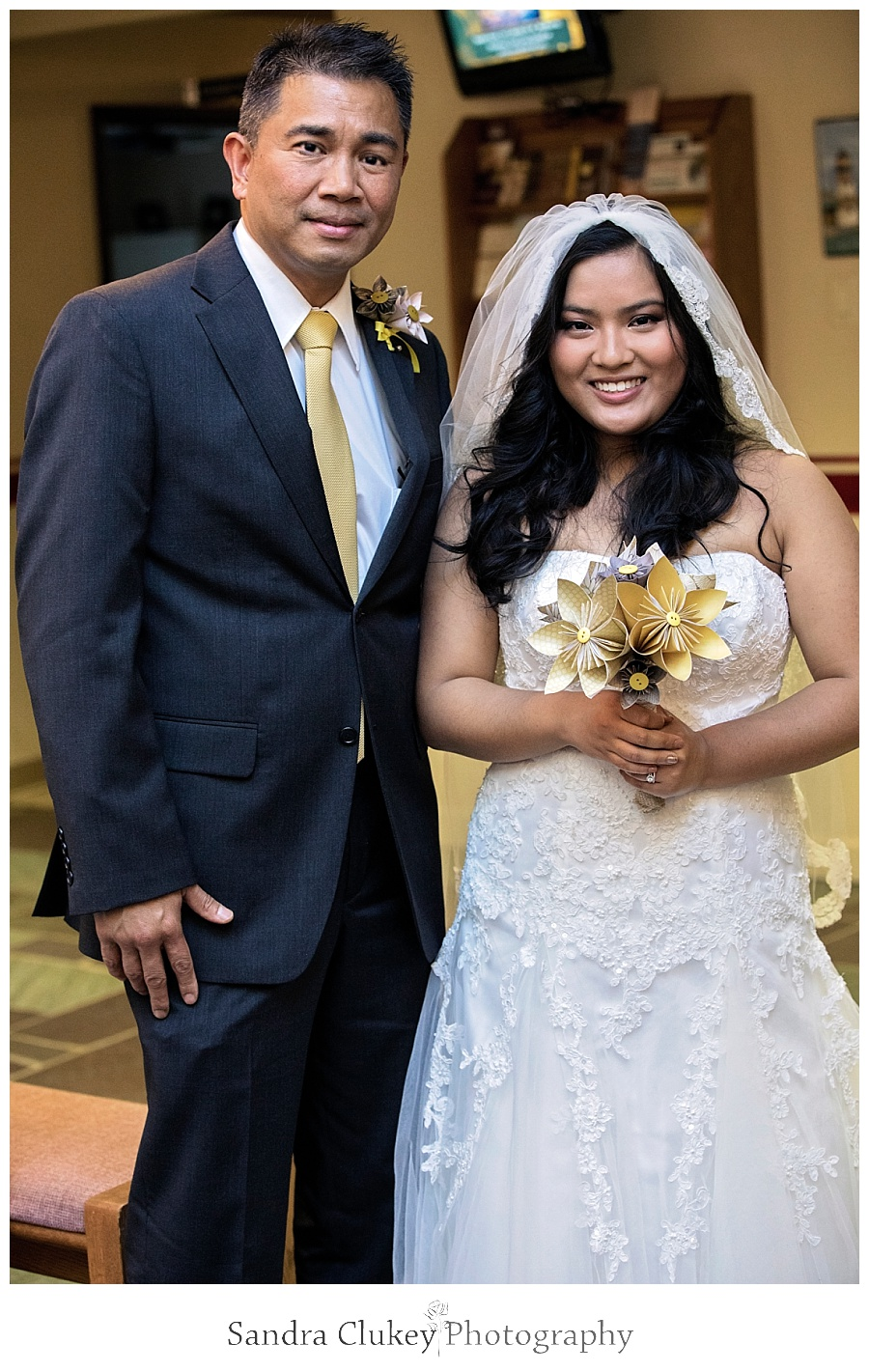 Special bride with father