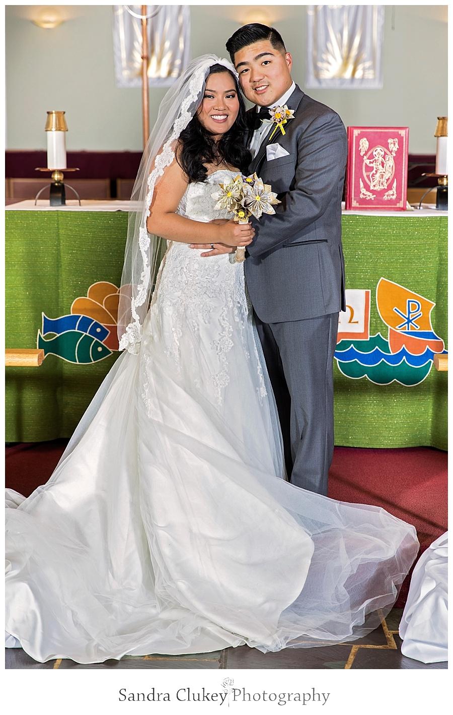 Euphoric bride and groom
