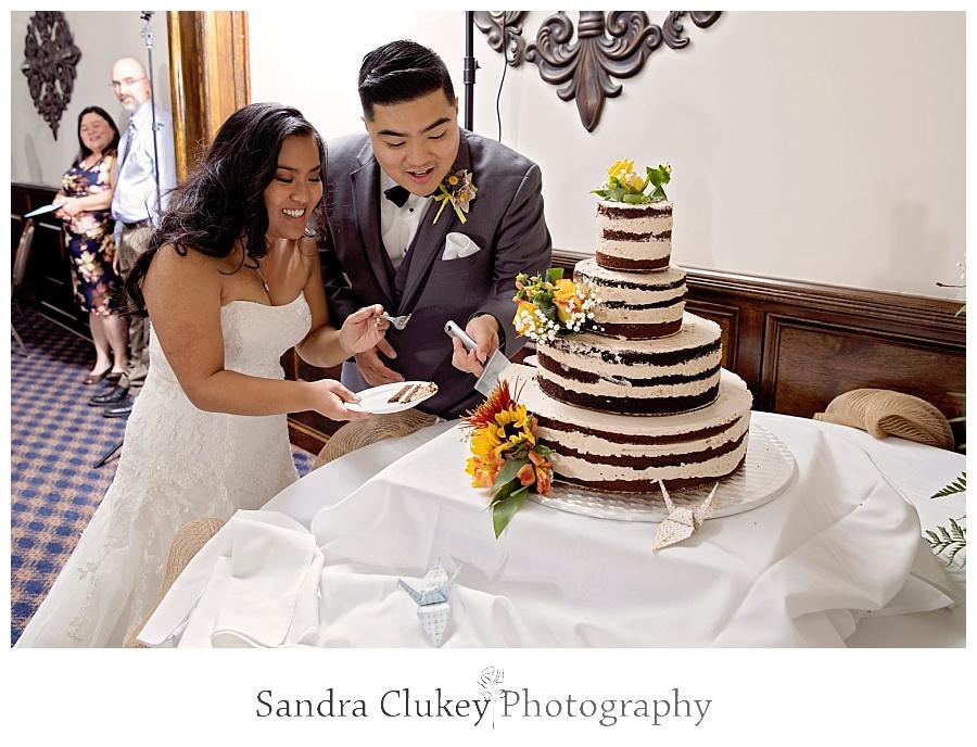 Enjoying the first piece of cake