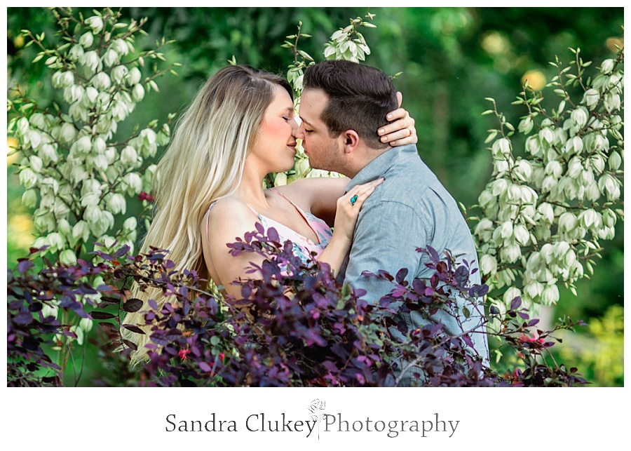 Romantic moment for couple in a garden