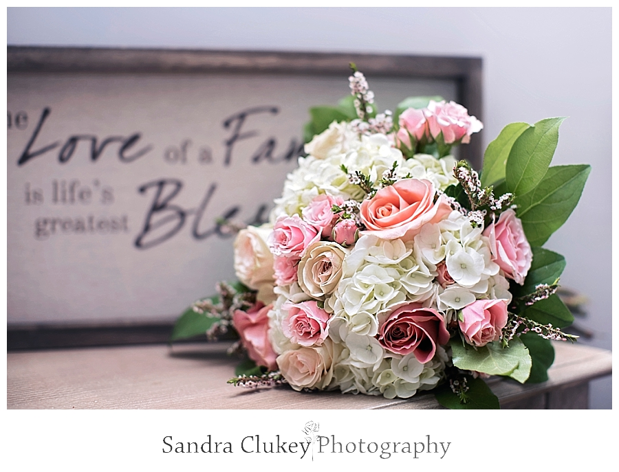 Pink rose and white hydrangea bridal bouquet