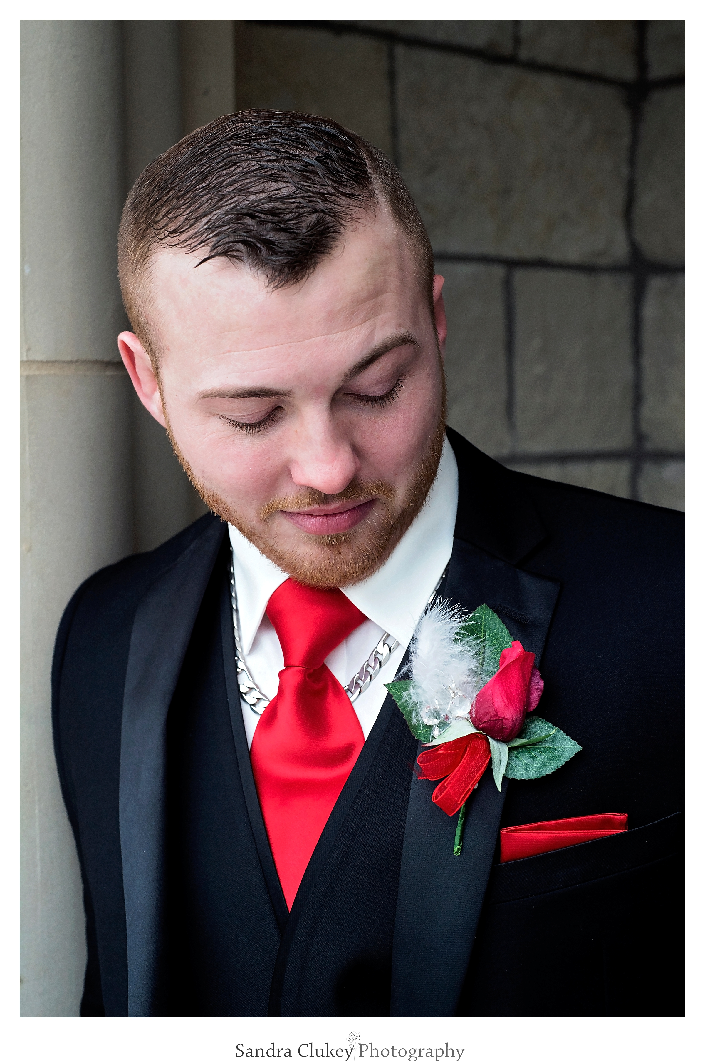 Handsome groom on wedding day at  Lee University chapel, Cleveland TN.