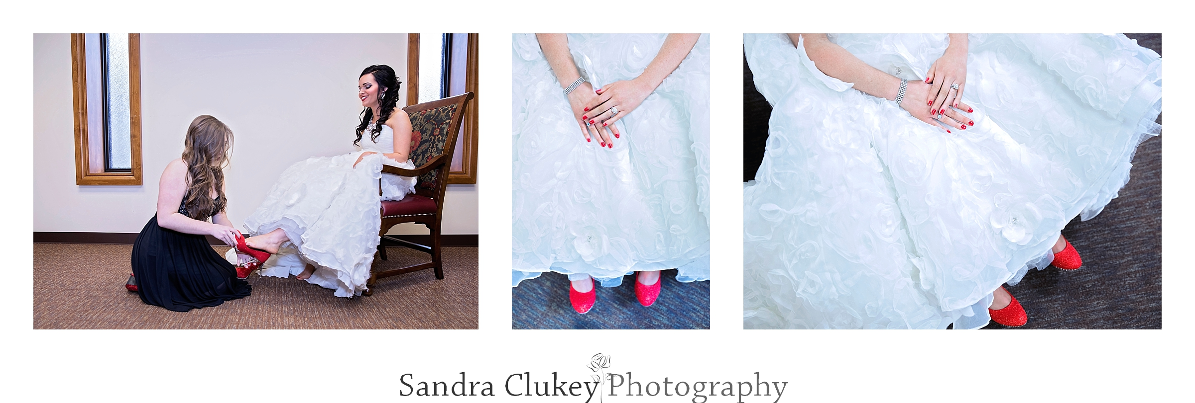 Magical red wedding shoes. Lee University Chapel, Cleveland TN