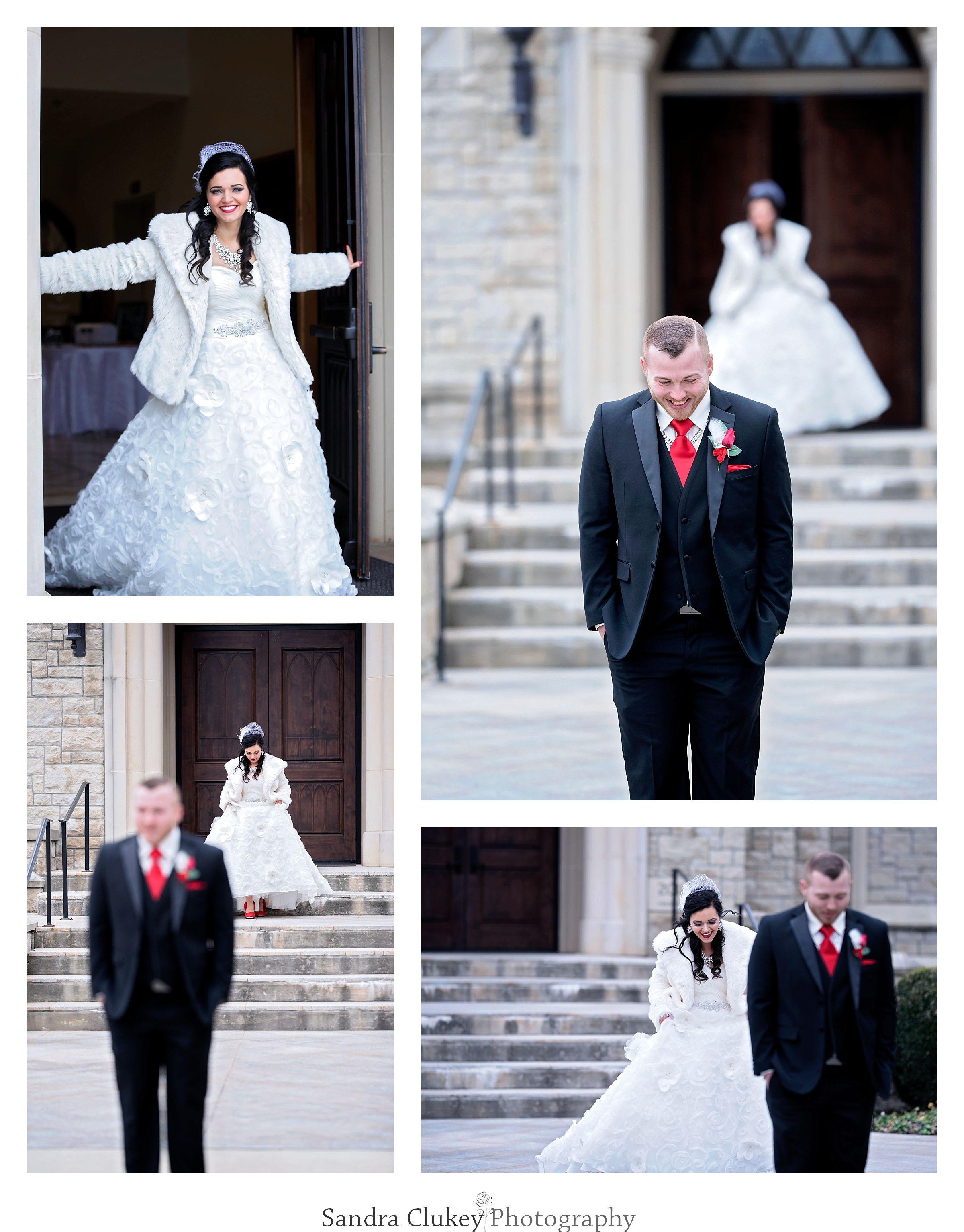 Wedding day first look with bride and groom at Lee University Chapel, Cleveland TN