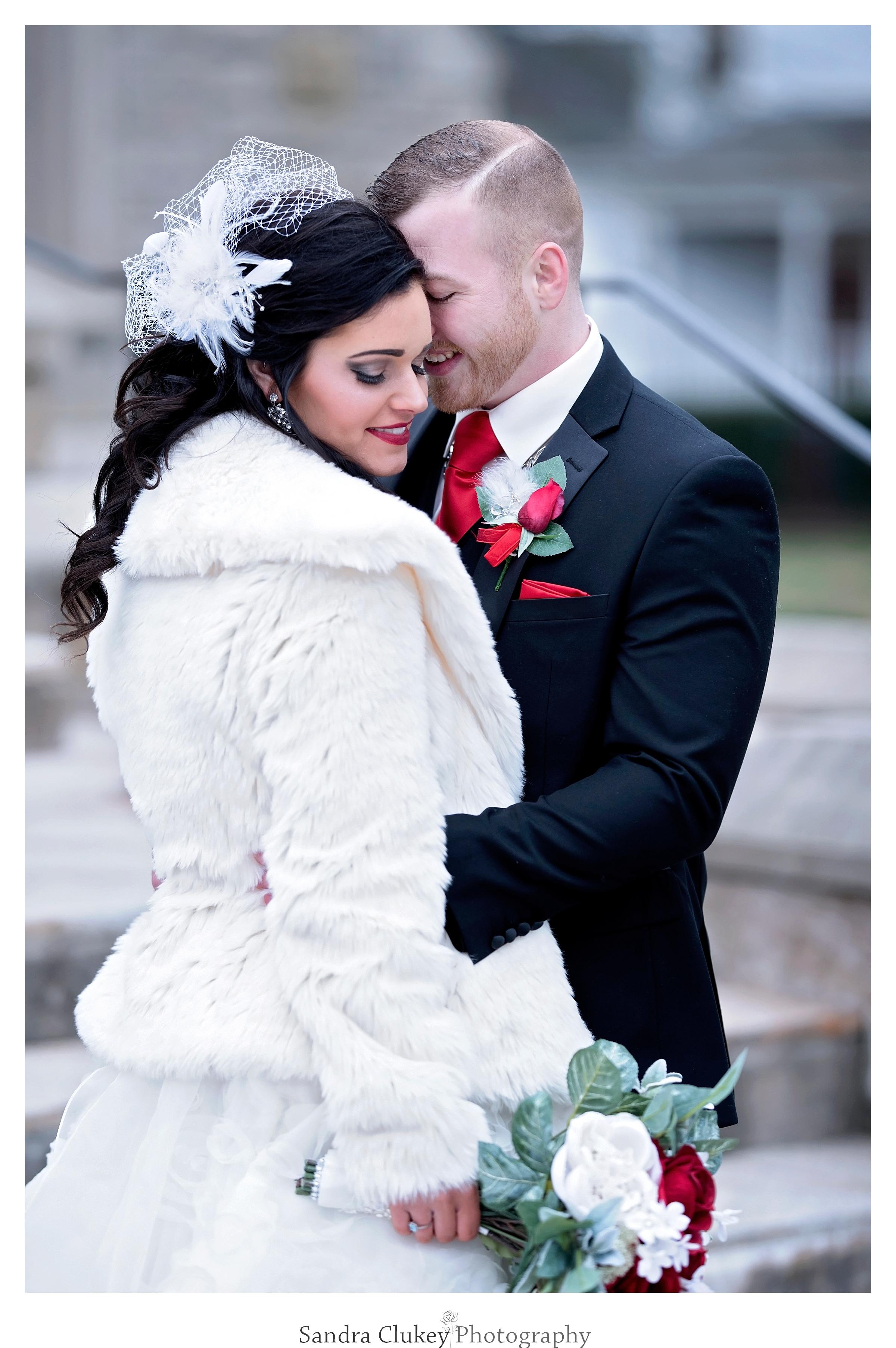 A wedding day warm embrace.  Lee University chapel, Cleveland TN.