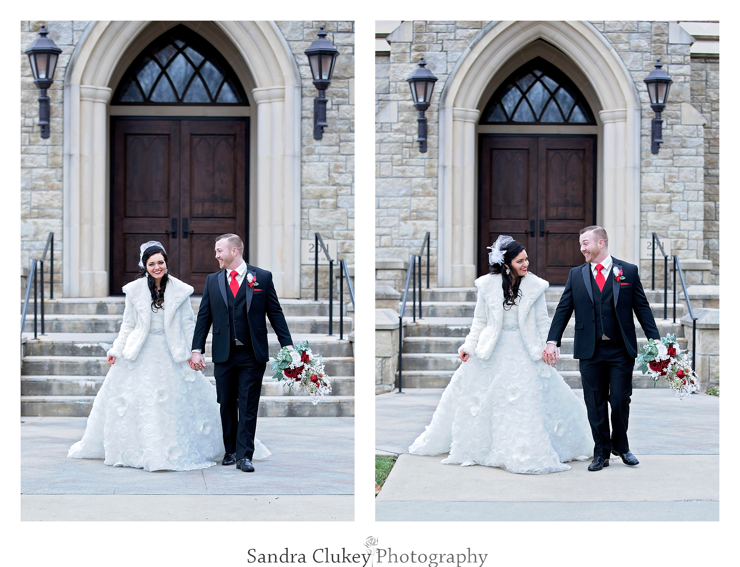 Exited wedding couple in front of the Lee University Chapel.