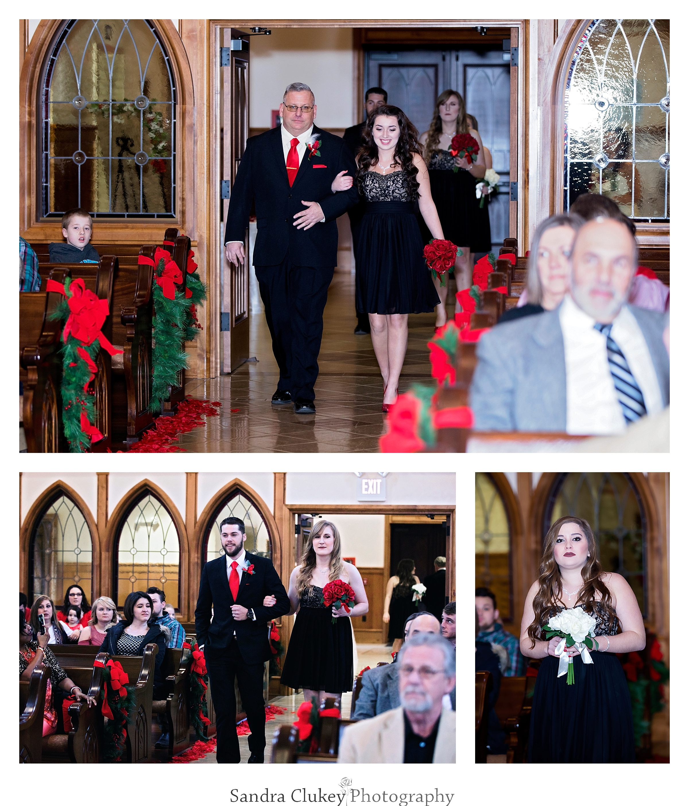 The wedding party enters the chapel at  Lee University chapel, Cleveland TN.