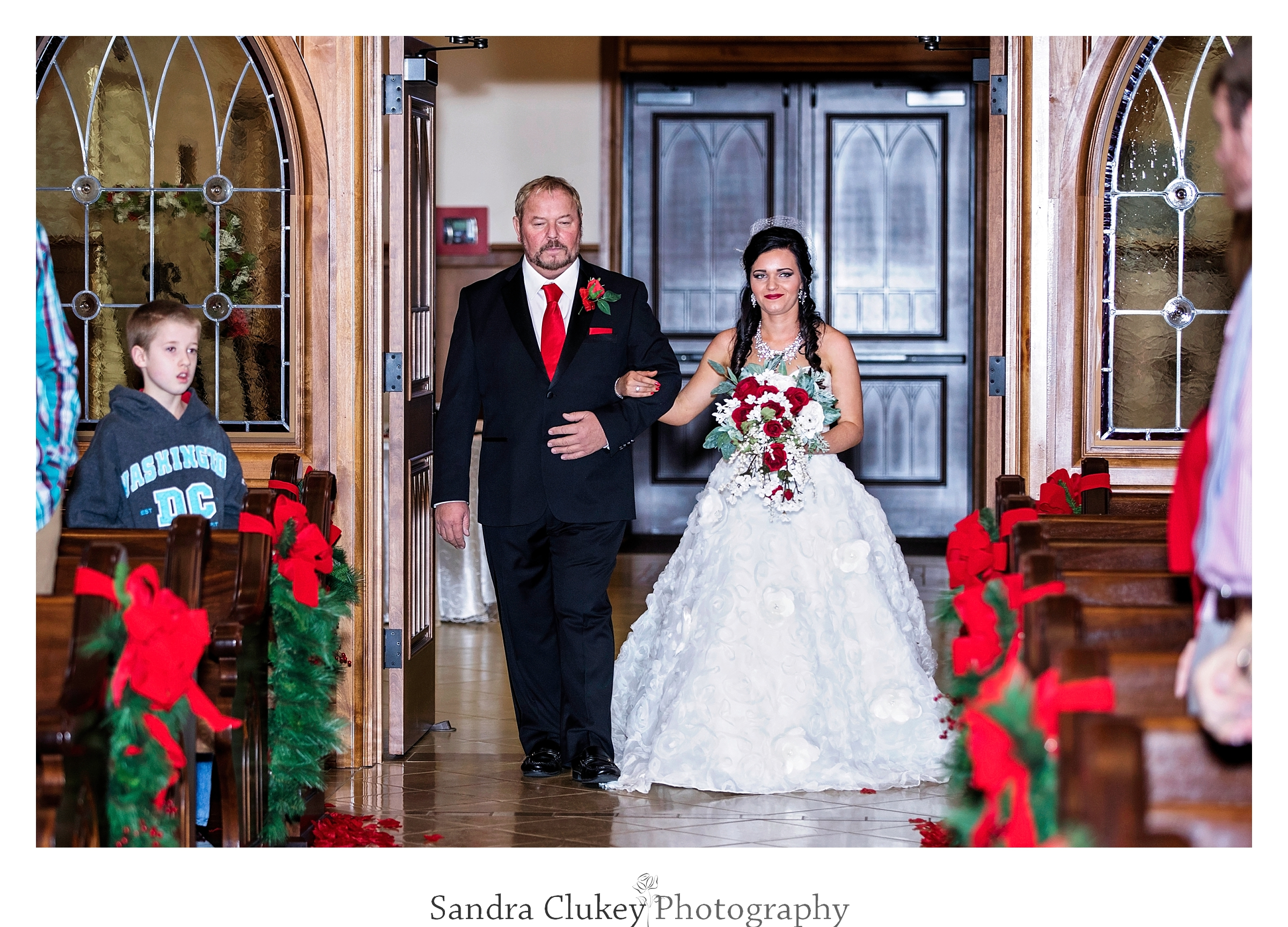 Jubilant moment at  Lee University chapel as bride arrives!