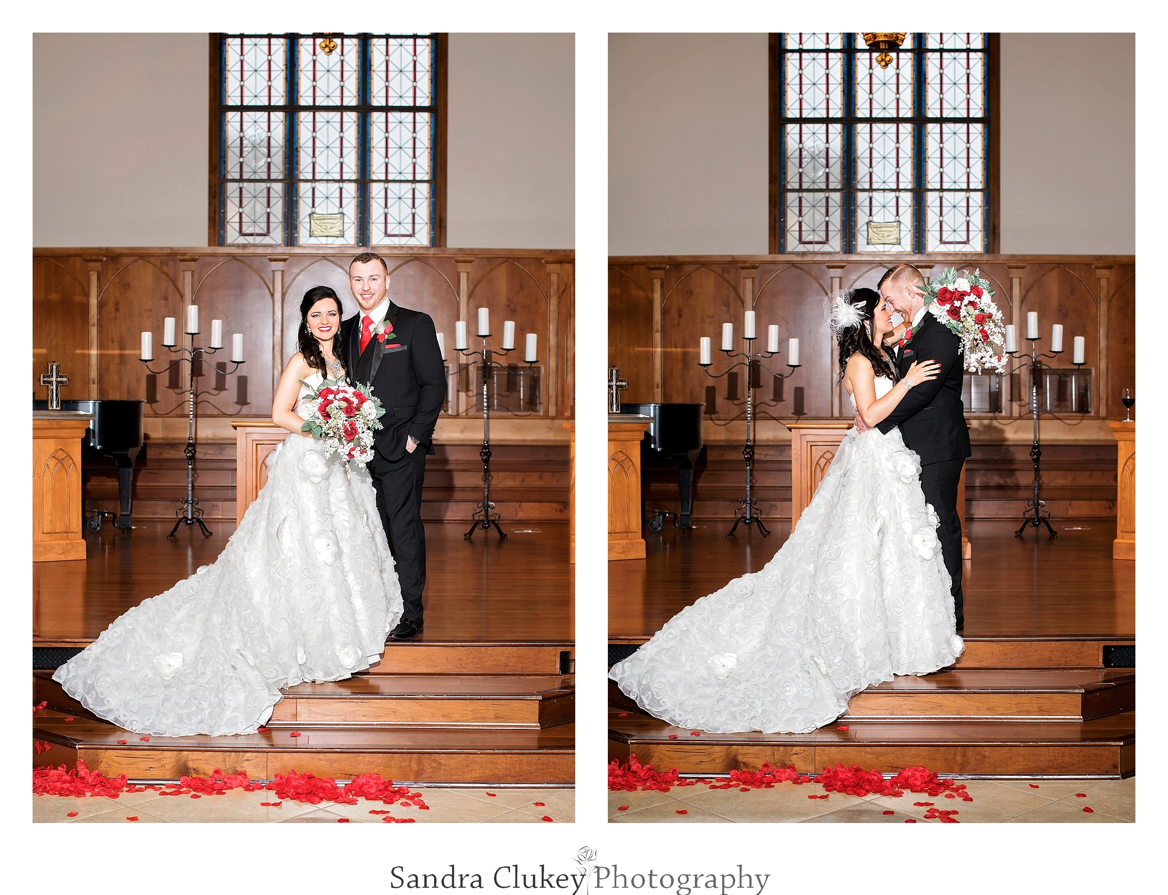 Formal wedding images of Bride and groom at  Lee University chapel, Cleveland TN.