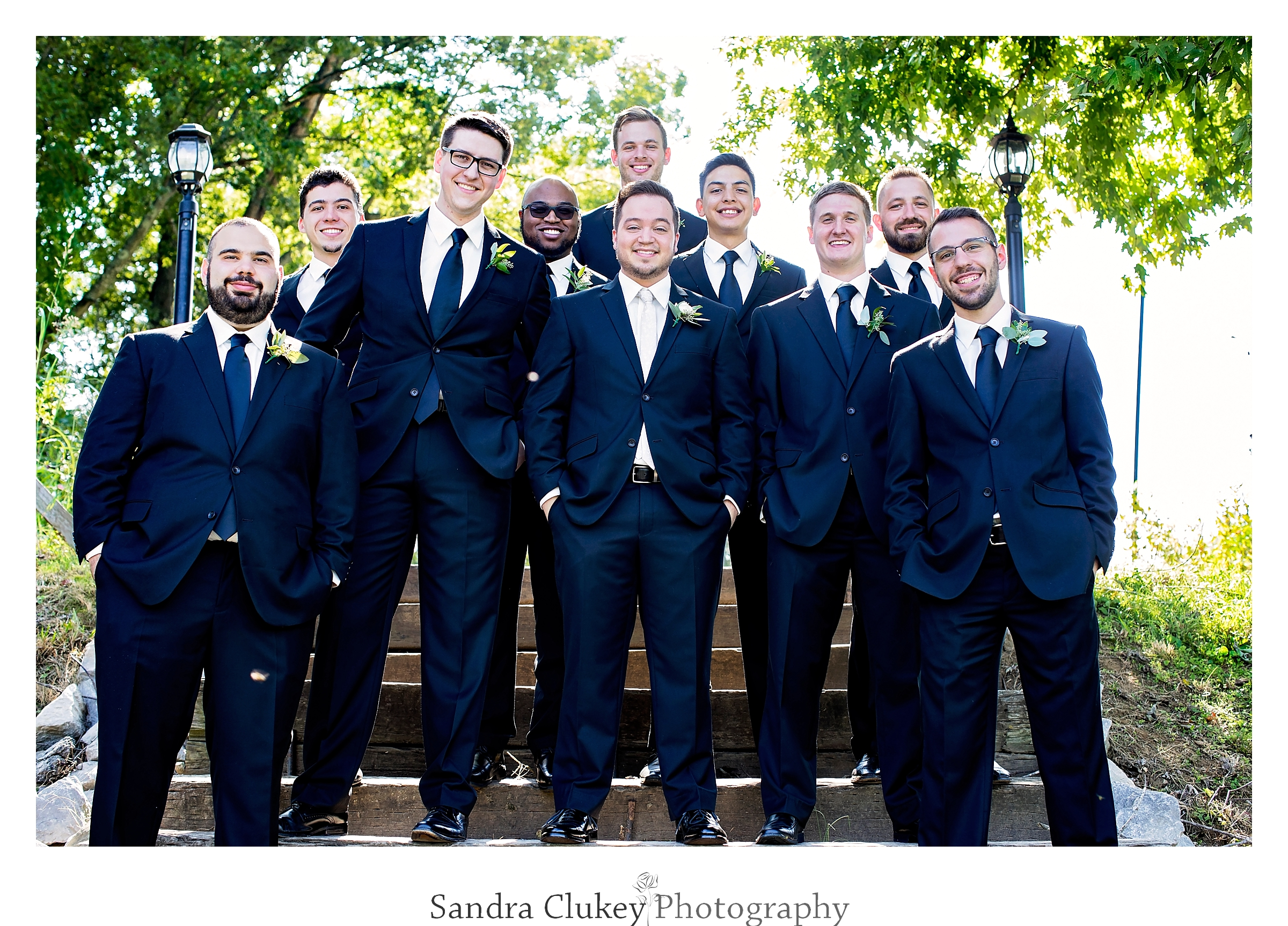 Groom and wedding party. Tennessee RiverPlace, Chattanooga TN