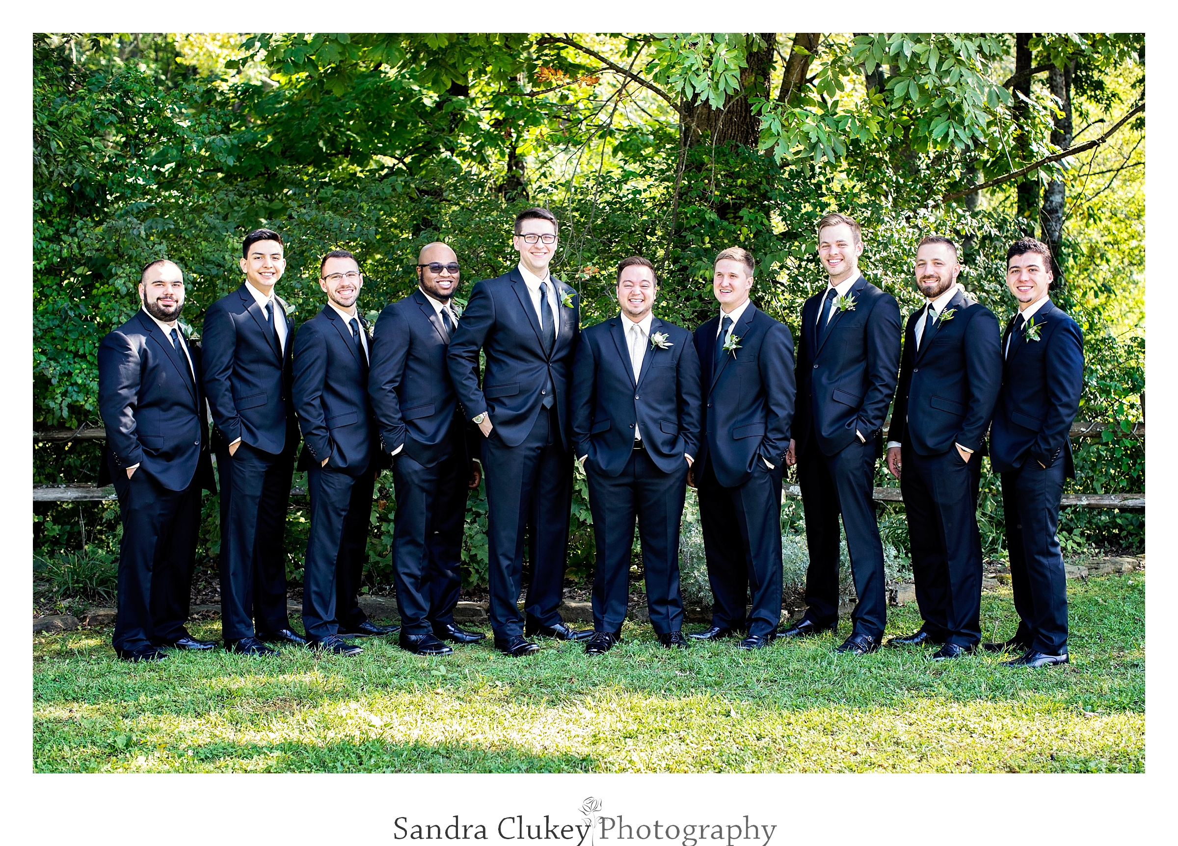Groom and wedding party at Tennessee RiverPlace, Chattanooga TN