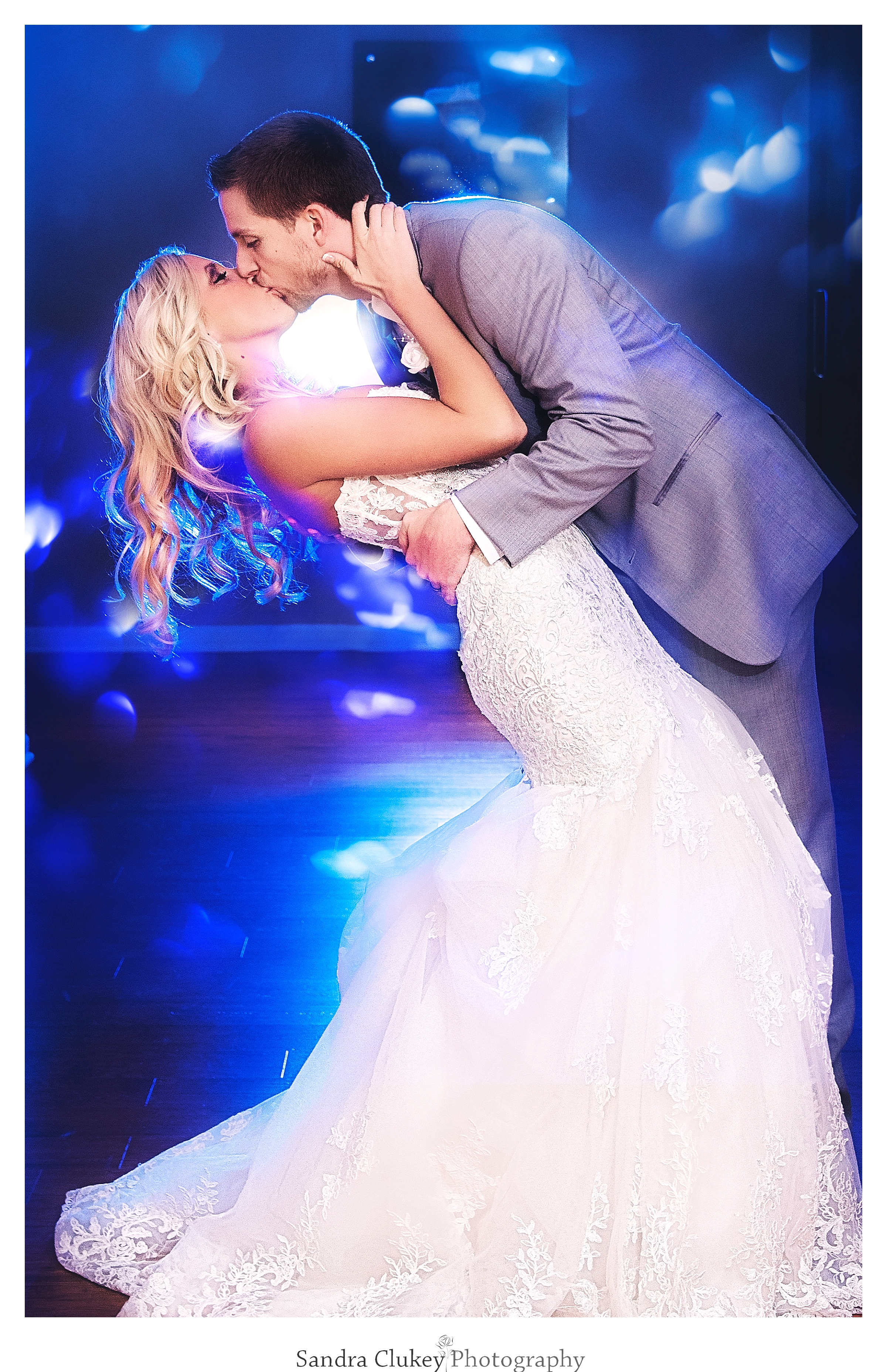 Bride and Groom in dip and kiss!