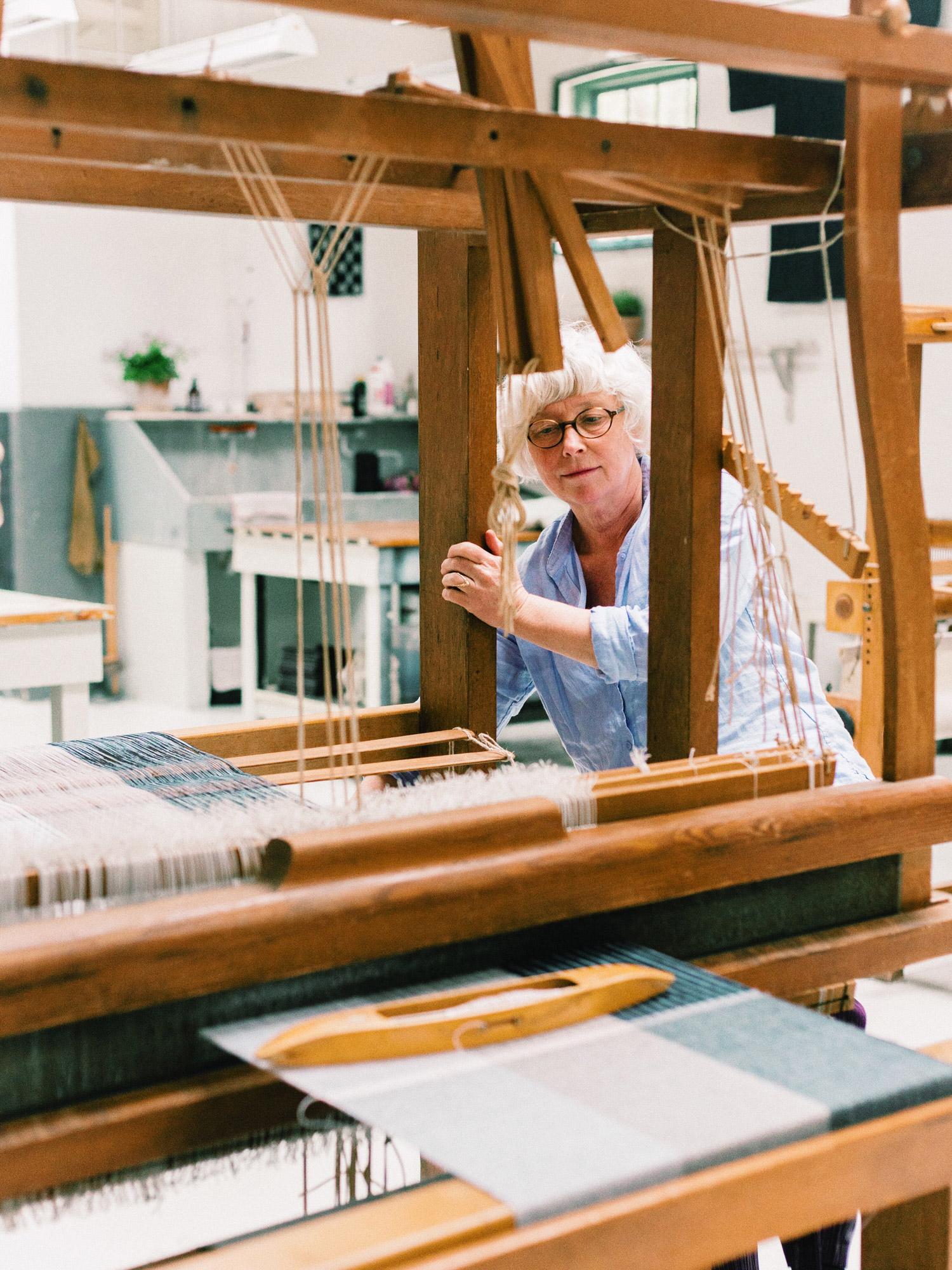 Weaver Karin Carlander at her loom
