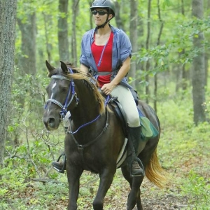 Endurance is for all breeds!  Dr Anne on her 13 year old Rocky Mountain Horse mare during a 50 mile ride in Virginia this summer.