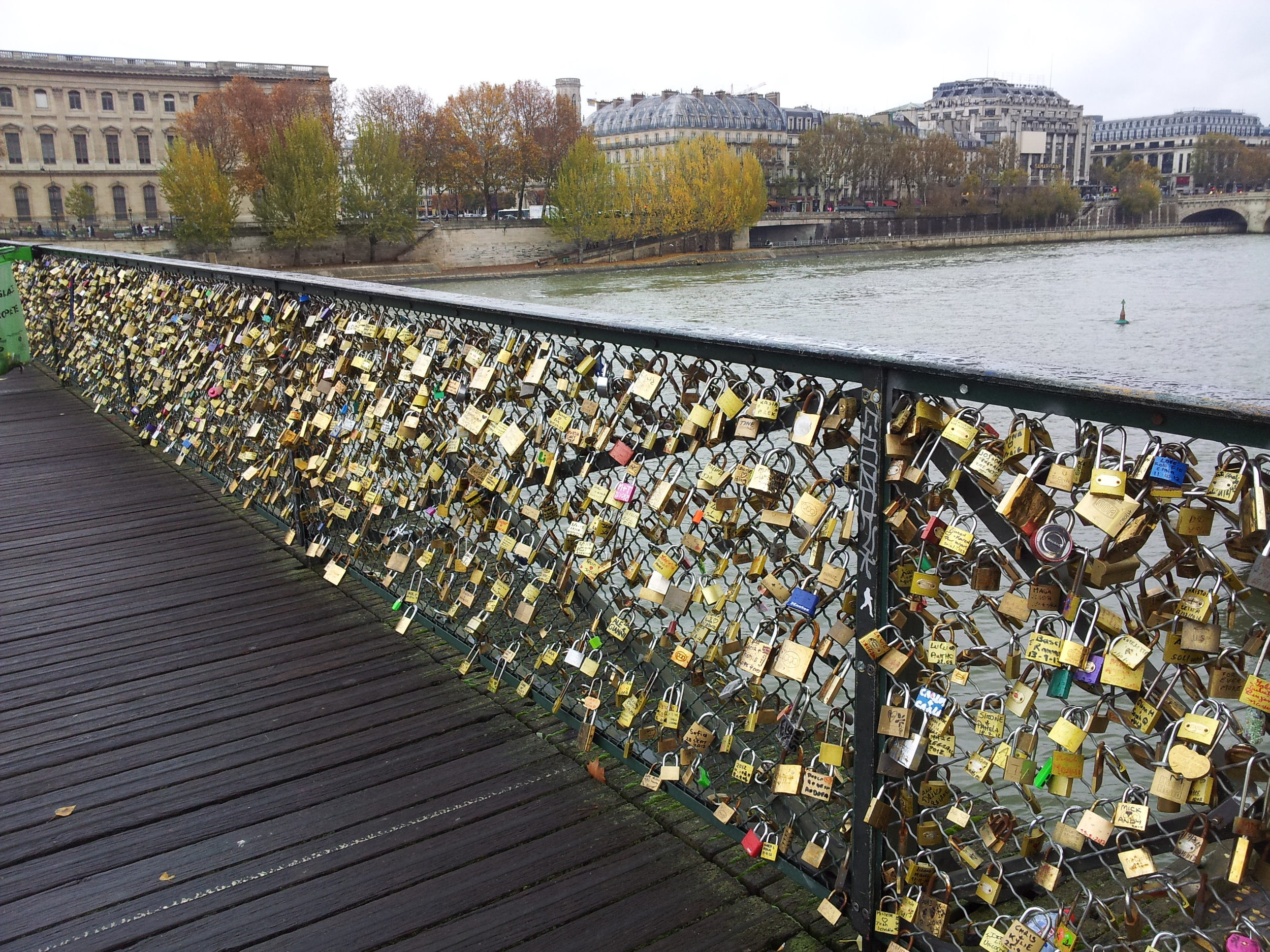A history of romance written in padlocks. Pont des Arts, Paris, 2012.