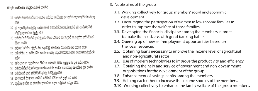Section 3 of the constitution for a microborrowing group, with a translation