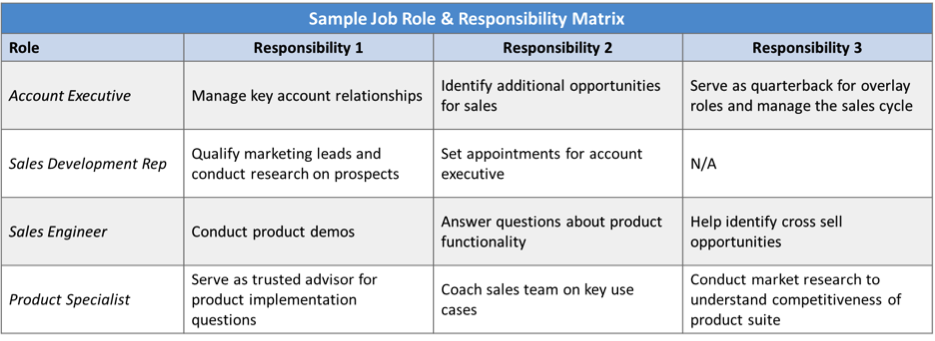 Figure 2: Complete a Job Role & Responsibility Matrix to confirm the roles and responsibilities of each of your sales functions.