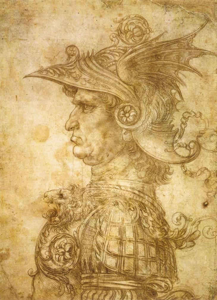 LEONARDO da Vinci, Profile of a warrior in helmet, c. 1472, Silverpoint on prepared paper