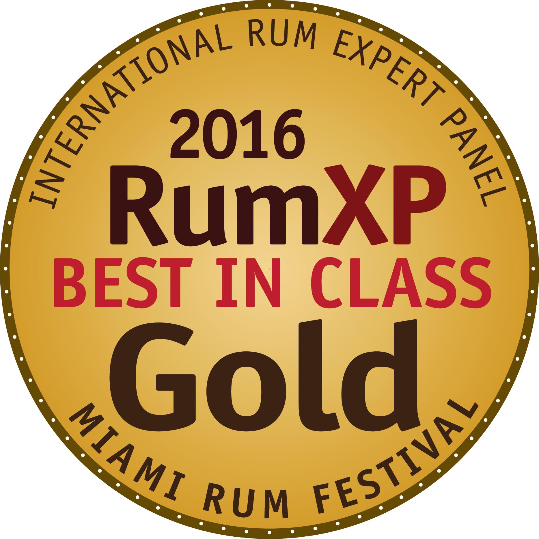 XO 20th Anniversary : RumXP Miami 2016, Gold Medal Best in Class, US