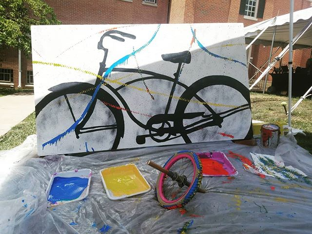 Come find us in #woodstockva for some #bike wheel #painting as part of Shenandoah Valley Art Fest!