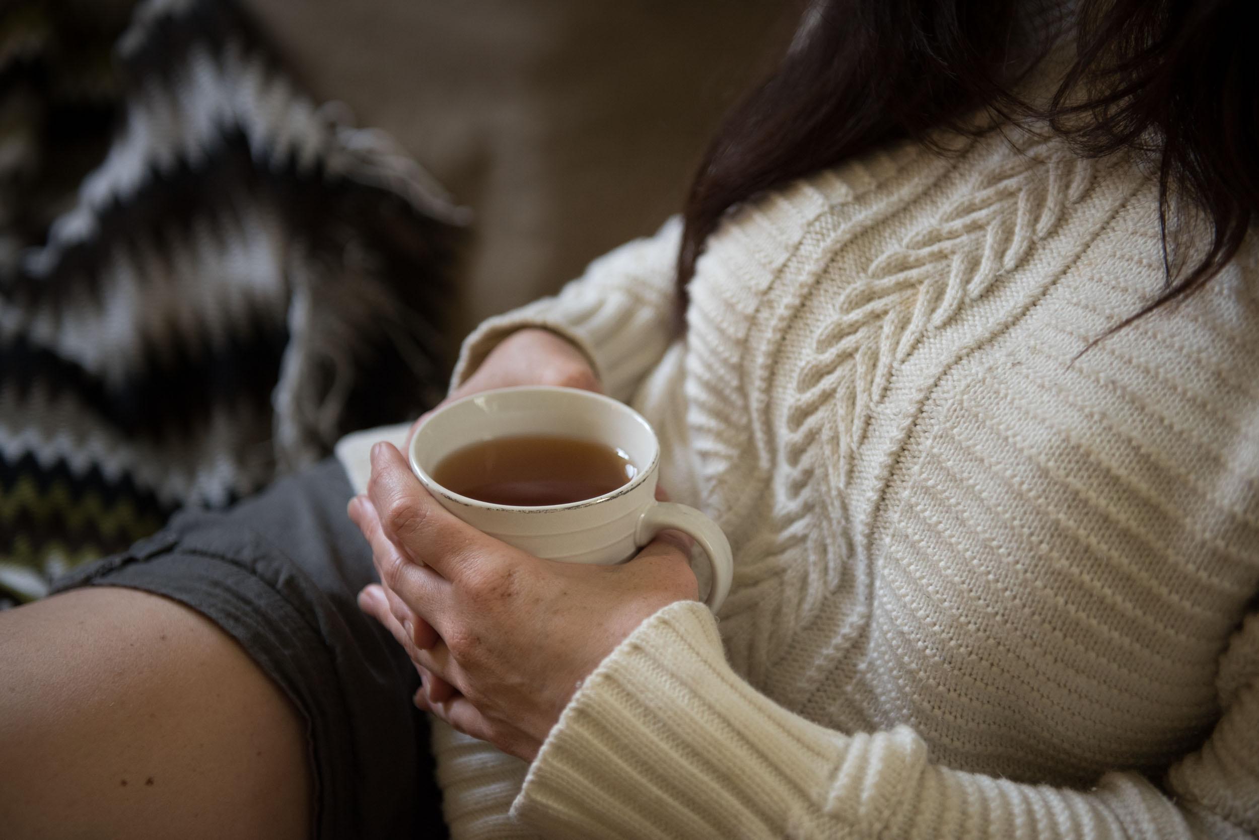 Enjoying a cup of hot tea