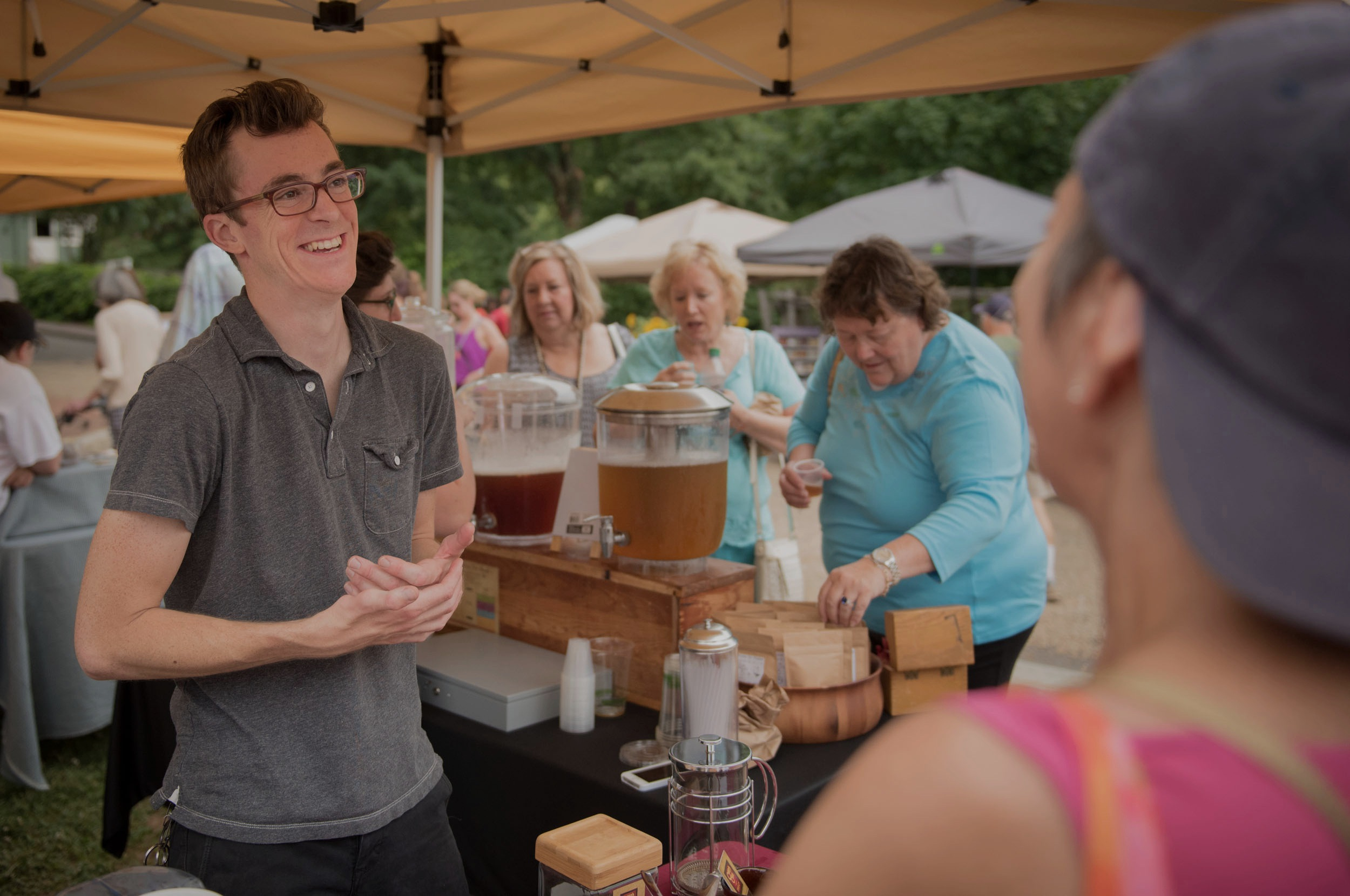 Selling Hot and Cold Tea at Our Local Farmer's Market