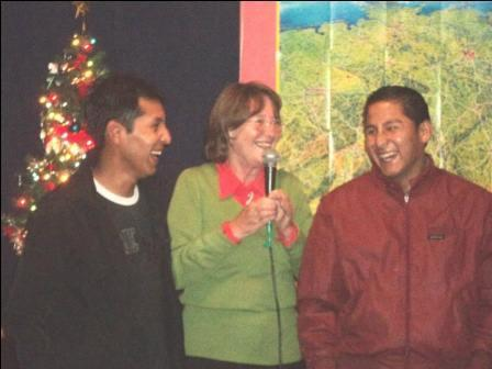 A visit from alumni Eliseo and Wilfredo at the Christmas party.