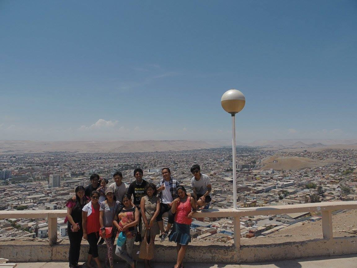 All together overlooking the town of Arica, Chile.