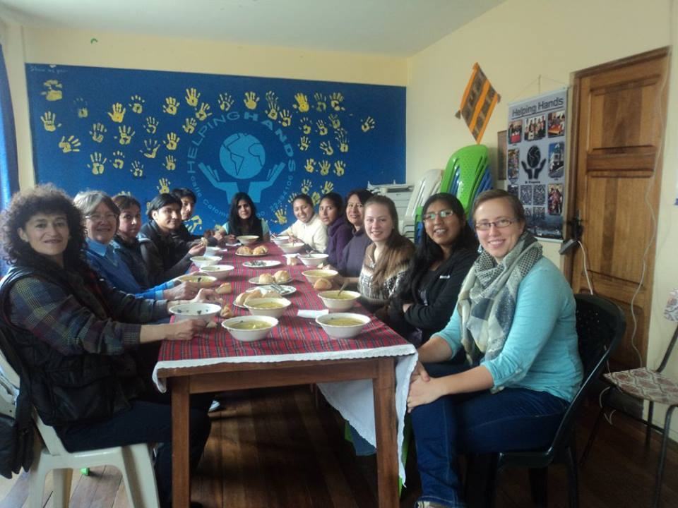 One of our weekly lunches with our new volunteer Liz.