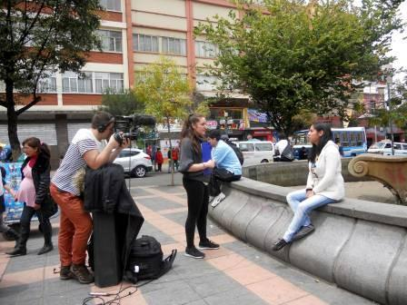 Interviews outside with Angela, Saf and Alisson in El Prado.