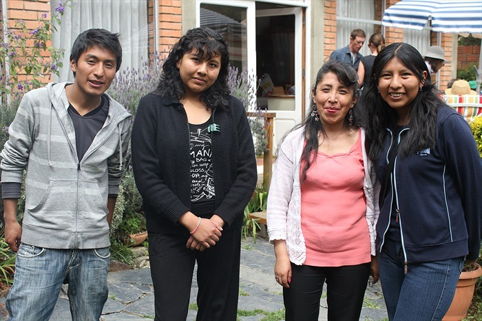 Roberto, Fabiola, Maria and Janneth at May's farewell party.