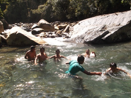 Cooling off in the river.