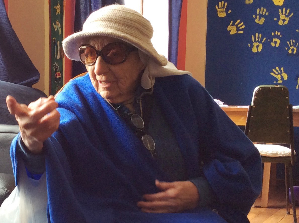 Sister Aracely (95 years young!) during her visit to collect some books.