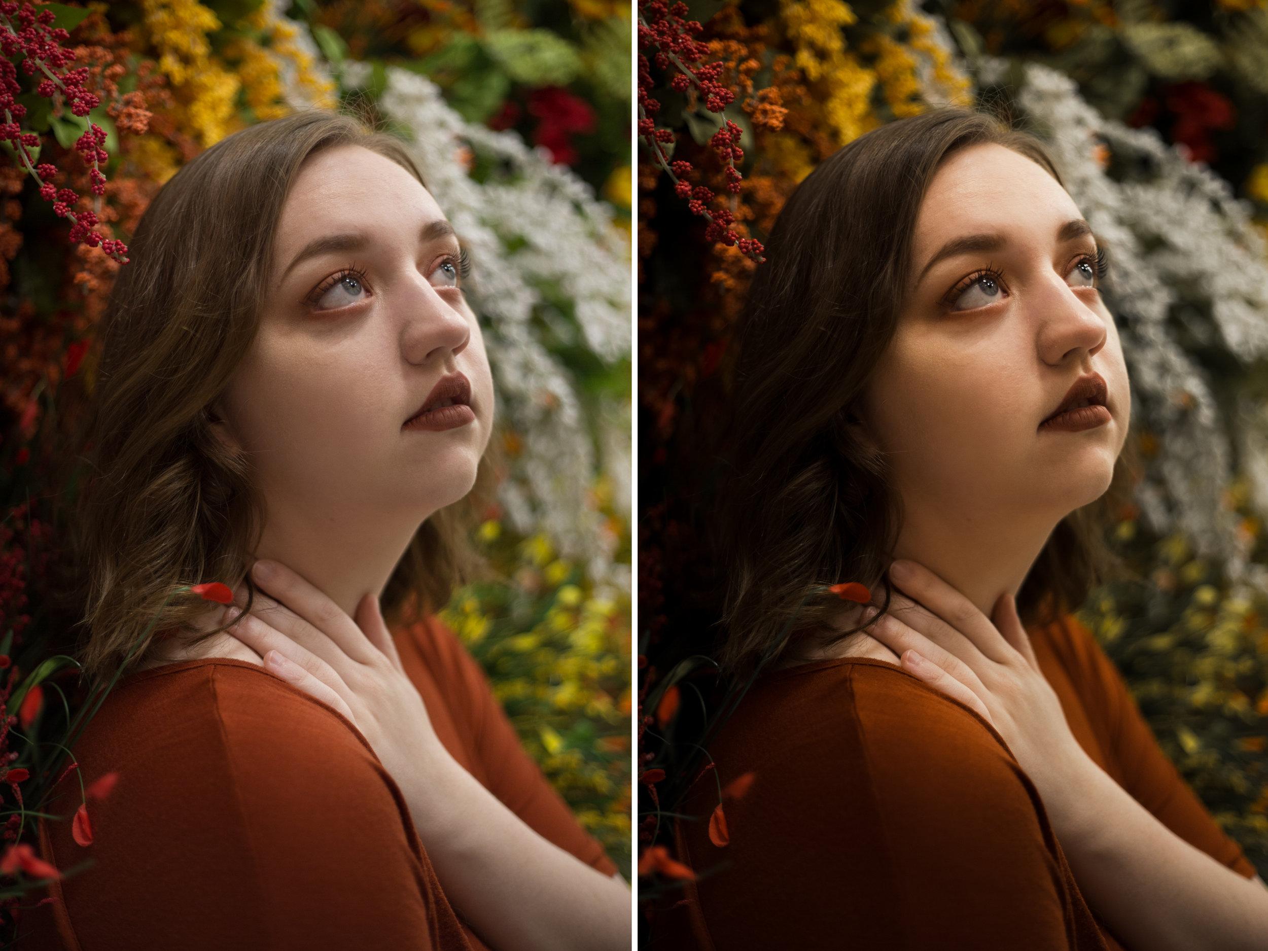 Left: Before /Right: Presets Used: Base Edit - Studio Headshot (tweaked). Brushes Used: Face - Even Skin Tone (tweaked), Eyes - Enhance Catchlights, Eyes - Whiten Eyes, Face - Fix Under Eye Circles (tweaked)